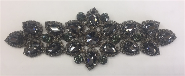 RHS-APL-M127-BLACK. Glue-On Sew-On Black Crystal Rhinestones on Black Metal Applique - 6.5 x 2.2 Inches. Can be Used for Making Belts, Sashes, Head-Bands, Party Dresses and Costumes.
