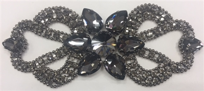 RHS-APL-M131-BLACK. Glue-On Sew-On Black Crystal Rhinestones on Black Metal Applique - 5 x 1.8 Inches. Can be Used for Making Belts, Sashes, Head-Bands, Party Dresses and Costumes.