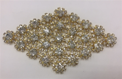 RHS-APL-M132-GOLD. Clear Rhinestones on Gold Metal Applique. 4 x 2.5 Inches