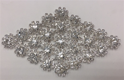 RHS-APL-M132-SILVER. Clear Rhinestones on Silver Metal Applique. 4 x 2.5 Inches