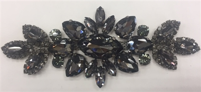 RHS-APL-M133-BLACK. Glue-On Sew-On Black Crystal Rhinestones on Black Metal Applique - 5.5 x 2 Inches. Can be Used for Making Belts, Sashes, Head-Bands, Party Dresses and Costumes.