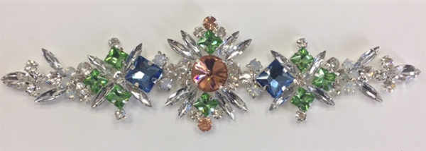 RHS-APL-M134. Glue-On Sew-On Multi-Color Crystal Rhinestone Metal Applique - 7 x 2 Inches. Can be Used for Making Belts, Sashes, Head-Bands, Party Dresses and Costumes.