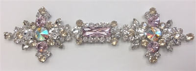 RHS-APL-M135. Glue-On Sew-On Multi-Color Crystal Rhinestone Metal Applique - 6.5 x 2 Inches. Can be Used for Making Belts, Sashes, Head-Bands, Party Dresses and Costumes.