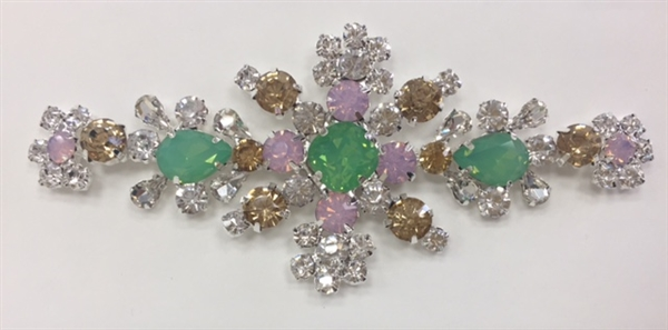 RHS-APL-M136. Glue-On Sew-On Multi-Color Crystal Rhinestone Metal Applique - 4.5 x 2 Inches. Can be Used for Making Belts, Sashes, Head-Bands, Party Dresses and Costumes.