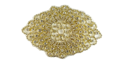 RHS-APL-M202-GOLD.  Glue-On / Sew-On Clear Crystal Rhinestone On Metal Applique - Gold Metal Backing - 6 inch X 4.5 Inch