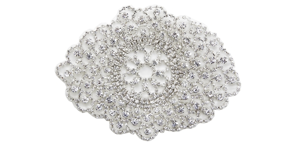 RHS-APL-M202-SILVER.  Glue-On / Sew-On Clear Crystal Rhinestone On Metal Applique - Silver Metal Backing - 6 inch X 4.5 Inch