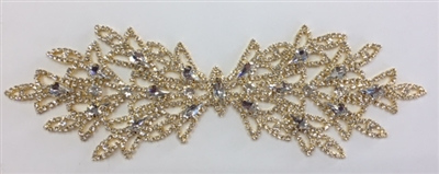 RHS-APL-M219-GOLD. Glue-On or Sew-On Clear Crystal Rhinestones on Gold Metal Applique - 9 x 3 Inches. Can be Used for Making Belts, Sashes, Head-Bands, Party Dresses and Costumes.