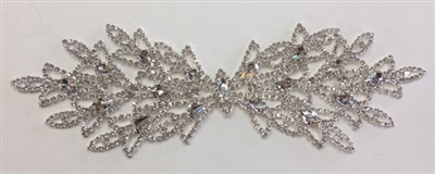 RHS-APL-M219-SILVER. Glue-On or Sew-On Clear Crystal Rhinestones on Silver Metal Applique - 9 x 3 Inches. Can be Used for Making Belts, Sashes, Head-Bands, Party Dresses and Costumes.