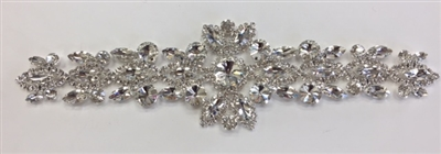 RHS-APL-M220-SILVER Glue-On or Sew-On Clear Crystal Rhinestones on Silver Metal Applique - 9 x 2.5 Inches. Can be Used for Making Belts, Sashes, Head-Bands, Party Dresses and Costumes.