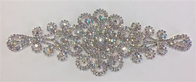 RHS-APL-M221-AB.  Glue-On or Sew-On AB Crystal Rhinestones on Silver Metal Applique - 8.5 x 3.5 Inches. Can be Used for Making Belts, Sashes, Head-Bands, Party Dresses and Costumes.