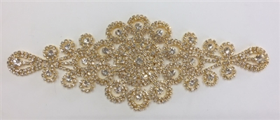 RHS-APL-M221-GOLD. Glue-On or Sew-On Clear Crystal Rhinestones on Gold Metal Applique - 8.5 x 3.5 Inches. Can be Used for Making Belts, Sashes, Head-Bands, Party Dresses and Costumes.