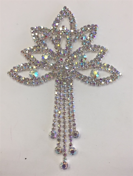 RHS-APL-M223-AB. Glue-On or Sew-On AB Crystal Rhinestones on Silver Metal Applique - 3.75 x 5 Inches. Can be Used for Making Belts, Sashes, Head-Bands, Party Dresses and Costumes.