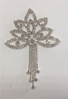 RHS-APL-M223-SILVER. Glue-On or Sew-On Clear Crystal Rhinestones on Silver Metal Applique - 3.75 x 5 Inches. Can be Used for Making Belts, Sashes, Head-Bands, Party Dresses and Costumes.