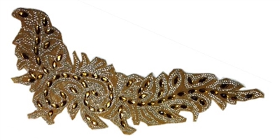 RHS-APL-084-GOLD.  AB ACRYLIC RHINESTONE APPLIQUE WITH GOLD BEADS - 14 INCHES