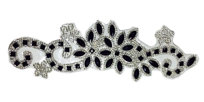 RHS-APL-P085-BLACKSILVER.  CLEAR AND BLACK ACRYLIC RHINESTONE APPLIQUE - 9 INCHES
