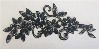 RHS-APL-P086-BLACKBLACK.  BLACK ACRYLIC RHINESTONE APPLIQUE - 8.5 INCHES