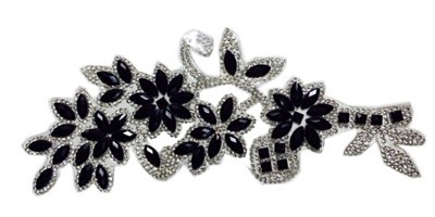 RHS-APL-P086-BLACKSILVER.  CLEAR AND BLACK ACRYLIC RHINESTONE APPLIQUE - 8.5 INCHES