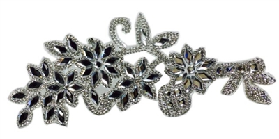 RHS-APL-086-SILVER.  CLEAR AND SILVER ACRYLIC RHINESTONE APPLIQUE - 8.5 INCHES