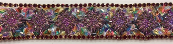 "RHS-TRM-001-ABFUCHSIA. HotFix Trim with Beads and AB Rhinestones- Fuchsia - 3/4"" Wide - Per Yard: $7.00"