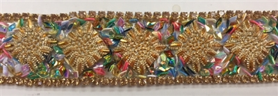 "RHS-TRM-001-GOLD. HotFix Trim with Beads and Rhinestones- Gold- 3/4"" Wide - Per Yard: $7.00"