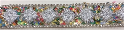 "RHS-TRM-001-SILVER. HotFix Trim with Beads and Rhinestones- Silver - 3/4"" Wide - Per Yard: $7.00"