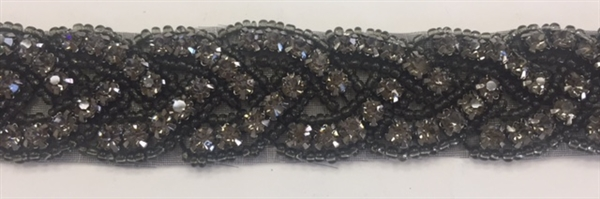 RHS-TRM-1150-BLACKBLACK. BLACK CRYSTAL RHINESTONE TRIM WITH BLACK BEADS - 1 INCH WIDE RHS-TRM-1150-AB.  AB diamante de imitacion de cristal - cuentas color negro - 1 pulgada de largo