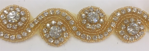 RHS-TRM-1152-GOLD.  CRYSTAL RHINESTONE TRIM - 1.5 INCH WIDE