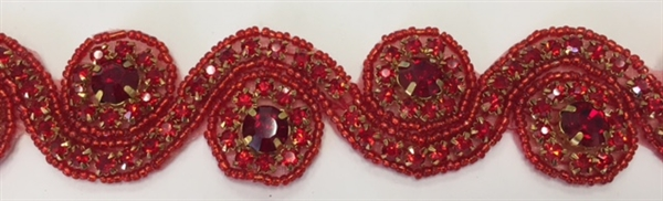 RHS-TRM-1152-RED.  RED CRYSTAL RHINESTONE TRIM - RED BEADS - 1.5 INCH WIDE