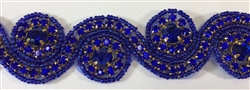RHS-TRM-1152-ROYALBLUE.  ROYAL BLUE CRYSTAL RHINESTONE TRIM - ROYAL BLUE BEADS - 1.5 INCH WIDE