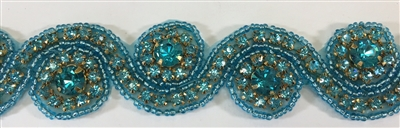 RHS-TRM-1152-TURQUOISE.  TURQUOISE CRYSTAL RHINESTONE TRIM - TURQUOISE BEADS - 1.5 INCH WIDE