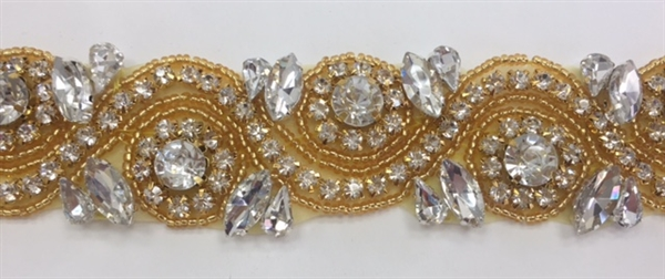 RHS-TRM-1152A-GOLD. Clear Crystal Rhinestone Trim with Gold Beads - 1.5 Inch Wide