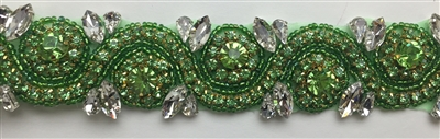 RHS-TRM-1152A-GREEN.  GREEN AND CRYSTAL RHINESTONE TRIM - WITH GREEN BEADS- 1.5 INCH WIDE