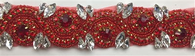 RHS-TRM-1152A-RED. RED AND CRYSTAL RHINESTONE TRIM - WITH RED BEADS- 1.5 INCH WIDE