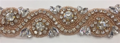 RHS-TRM-1152A-ROSEGOLD. Clear Crystal Rhinestone Trim with Rose Gold Beads - 1.5 Inch Wide