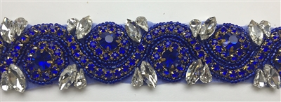 RHS-TRM-1152A-ROYALBLUE.  ROYALBLUE AND CRYSTAL RHINESTONE TRIM - WITH ROYALBLUE BEADS- 1.5 INCH WIDE