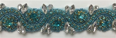 RHS-TRM-1152A-TURQUOISE.  TURQUOISE AND CRYSTAL RHINESTONE TRIM - WITH TURQUOISE BEADS- 1.5 INCH WIDE