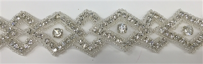 RHS-TRM-1158-SILVER.  CRYSTAL RHINESTONE TRIM - SILVER - WIDTH=1.5 INCHES.  REPEAT LENGTH = 2 INCHES.