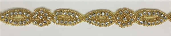 RHS-TRM-1191-GOLD.  CRYSTAL RHINESTONE TRIM WITH GOLD BEADS - 1 INCH WIDE - REPEAT LENGTH 4 INCHES