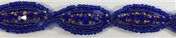 RHS-TRM-1268-ROYALBLUE.  ROYALBLUE CRYSTAL RHINESTONE TRIM WITH ROYAL BLUE BEADS - 5/8 INCHES WIDE