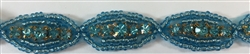RHS-TRM-1268-TURQUOISE.  TURQUOISE CRYSTAL RHINESTONE TRIM WITH TURQUOISE BEADS - 5/8 INCHES WIDE