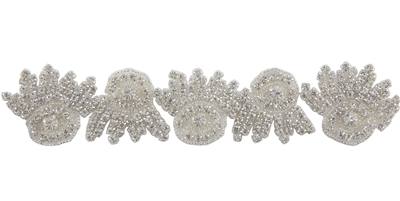 RHS-TRM-1273-SILVER.  CRYSTAL RHINESTONE TRIM - 1.75 INCHES WIDE - REPEAT LENGTH 3 INCHES