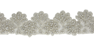 RHS-TRM-1274-SILVER.  CRYSTAL RHINESTONE TRIM - 2 INCHES WIDE - REPEAT LENGTH 2 INCHES