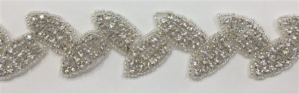 "RHS-TRM-1275.  Rhinestone Trim By The Yard - 1.5"" Wide"