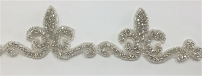 RHS-TRM-1307-SILVER.  CRYSTAL RHINESTONE TRIM - 2.75 INCHES WIDE - REPEAT LENGTH 4 INCHES