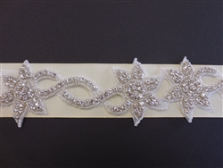 RHS-TRM-1334-SILVER.  CRYSTAL RHINESTONE TRIM - 2.5 INCH WIDE - REPEAT LENGTH 6 INCHES