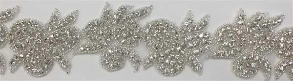 RHS-TRM-1336-SILVER.  CRYSTAL RHINESTONE TRIM - 2 INCHES WIDE - REPEAT LENGTH 4.5 INCHES
