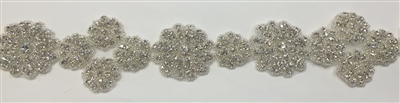 RHS-TRM-1345-SILVER.  CRYSTAL RHINESTONE TRIM - 2.5 INCHES WIDE - REPEAT LENGTH 5 INCHES