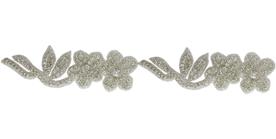 RHS-TRM-1397-SILVER.  CRYSTAL RHINESTONE TRIM - 1.75 INCHES WIDE - REPEAT LENGTH 5.5 INCHES