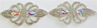 RHS-TRM-1493-AB.  CRYSTAL RHINESTONE TRIM - 3 INCHES WIDE - REPEAT LENGTH 6 INCHES