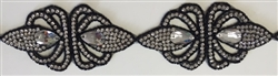 RHS-TRM-1493-BLACK.  CRYSTAL RHINESTONE TRIM WITH BLACK BEADS- 3 INCHES WIDE - REPEAT LENGTH 6 INCHES